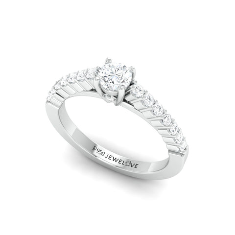 Platinum Solitaire Engagement Ring with Diamond Accents JL PT 674