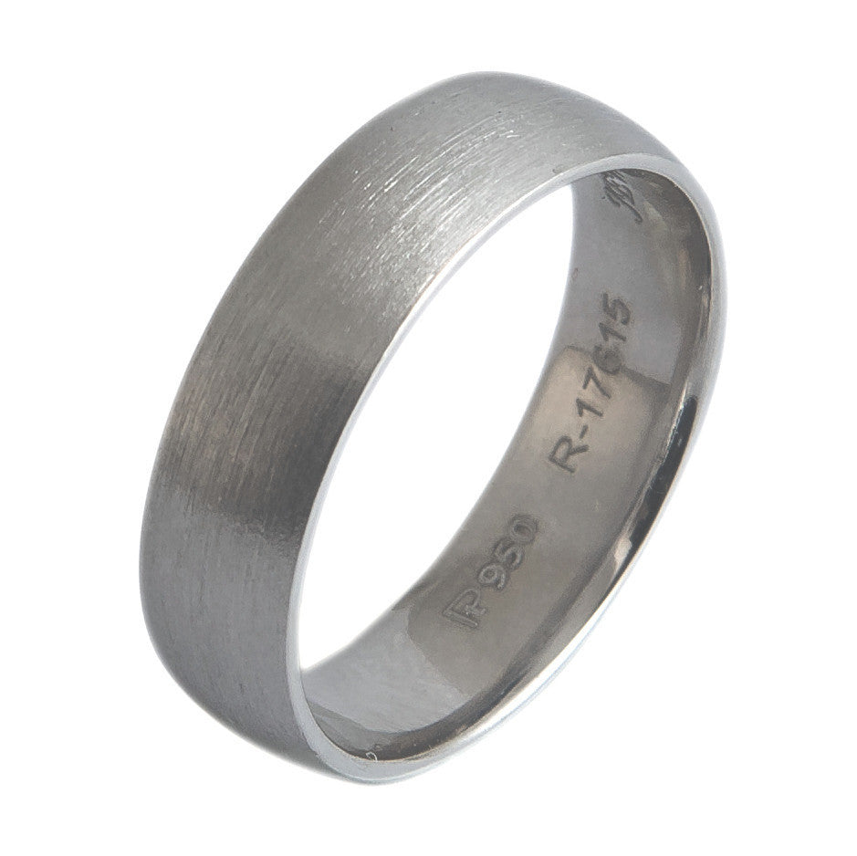 Men Platinum Rings - 6mm Brushed Finish Comfort Fit Platinum Wedding Band For Men JL PT 436 3D view