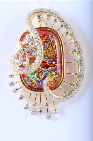 Diamond Pendant with Colourful Artwork JL 128 in India