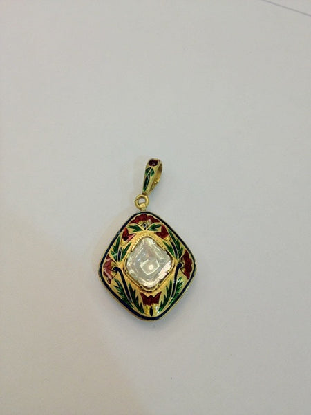 Diamond Polki Solitaire Pendant SJ 62 PS by Suranas Jewelove in India