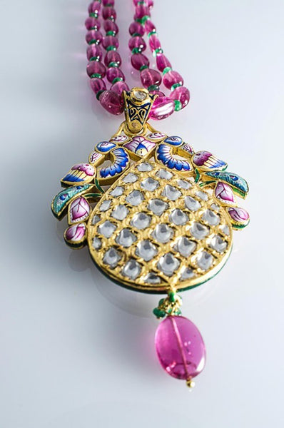 Exceptional Two sided Diamond Polki pendant with Pink Enamel SJ PS 80 by Suranas Jewelove in India