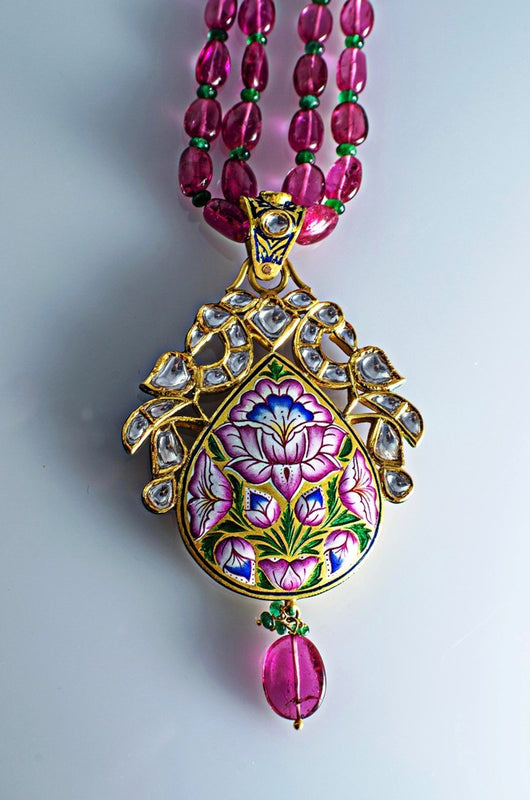 Buy art nouveau kundan meena polki jewelry online in india jewelove exceptional two sided diamond polki pendant with pink enamel sj ps 80 by suranas jewelove aloadofball Images