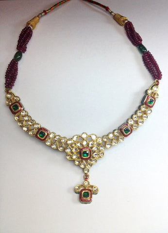 Light weight Uncut Diamond Polki Necklace Set by Suranas Jewelove - Suranas Jewelove