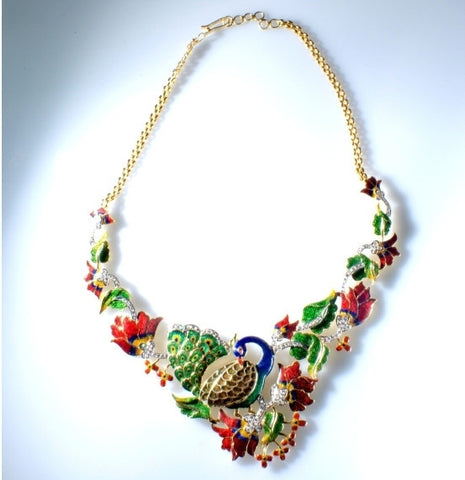 Nature Inspired Peacock Fusion Diamond Necklace Set - Suranas Jewelove