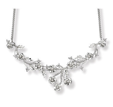 Platinum Garland Necklace with Diamonds SJ PTO N27 - Suranas Jewelove