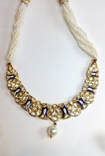 Price Point Blue Enamel Necklace set with Uncut Diamond Polki by Suranas Jewelove - Suranas Jewelove