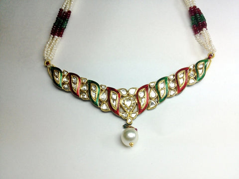Price Point Red and Green Enamel Necklace Set by Suranas Jewelove - Suranas Jewelove