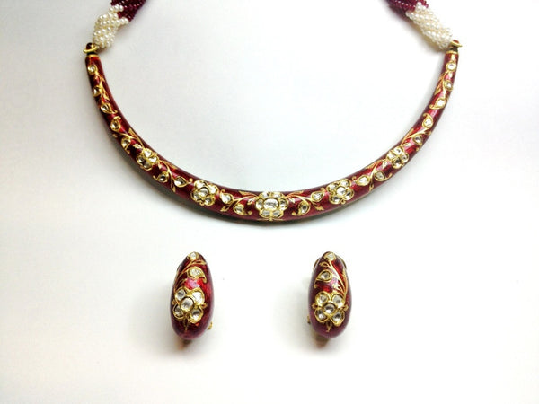 Red Meena Hasli with Uncut Diamond Polkis by Suranas Jewelove - Suranas Jewelove