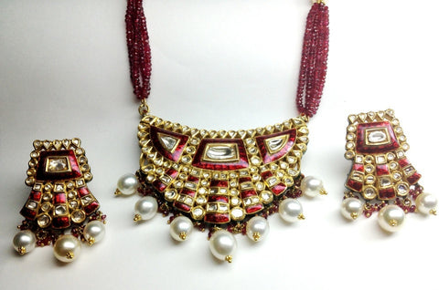 Royal Thepta style Diamond Polki Pendant Set by Suranas Jewelove - Suranas Jewelove