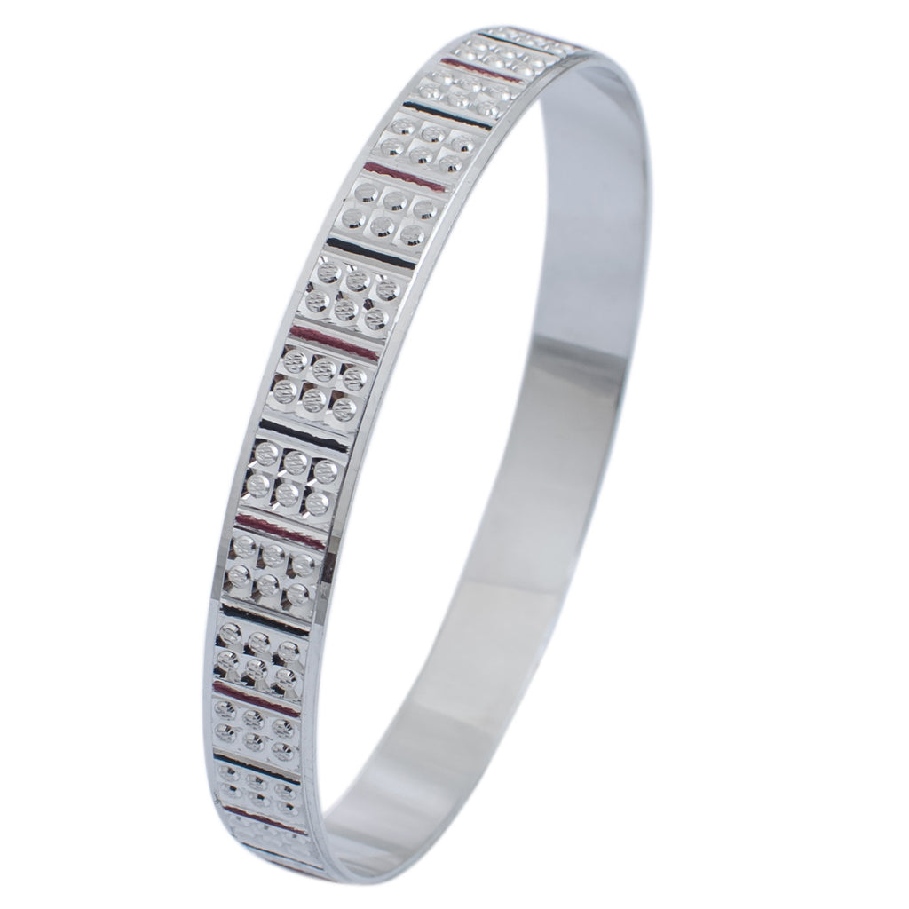 Platinum Bangles in India - Platinum Bangle For Women With Diamond Cut, Pink And Black Enamel JL PTB 620