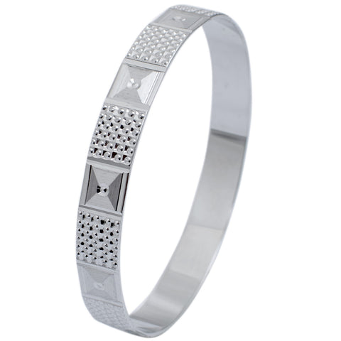 platinum-Bangles - Broad Platinum Bangle For Women With Diamond Cut JL PTB 622