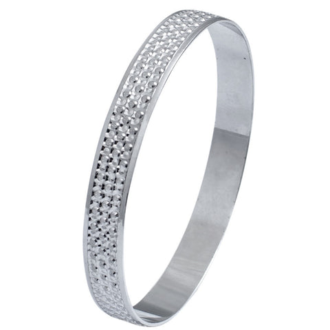 Platinum Bangles in India - Broad Platinum Bangle With Diamond Cut JL PTB 614