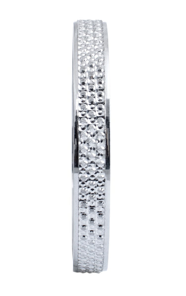 Platinum Bangles in India - Broad Platinum Bangle With Diamond Cut JL PTB 614 Front View