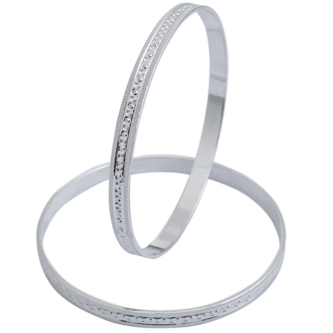 Platinum Bangle for Women with Centre Lining of Diamond Cutting JL PTB 624