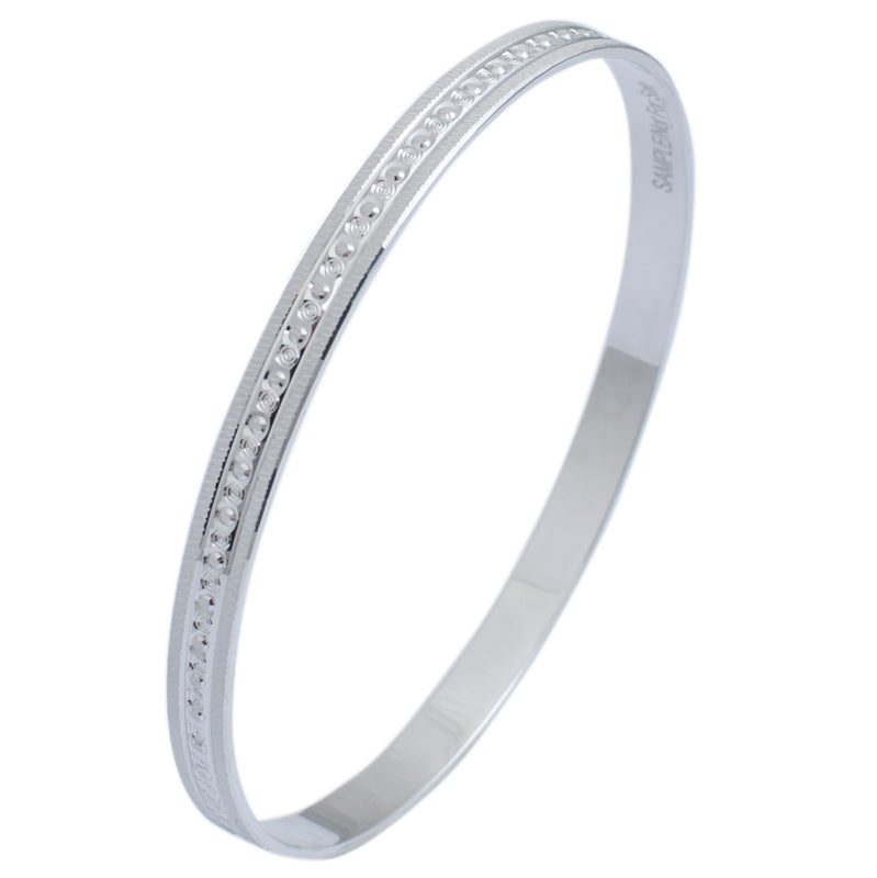 Platinum Bangle for Women with Centre Lining of Diamond Cutting JL PT 624