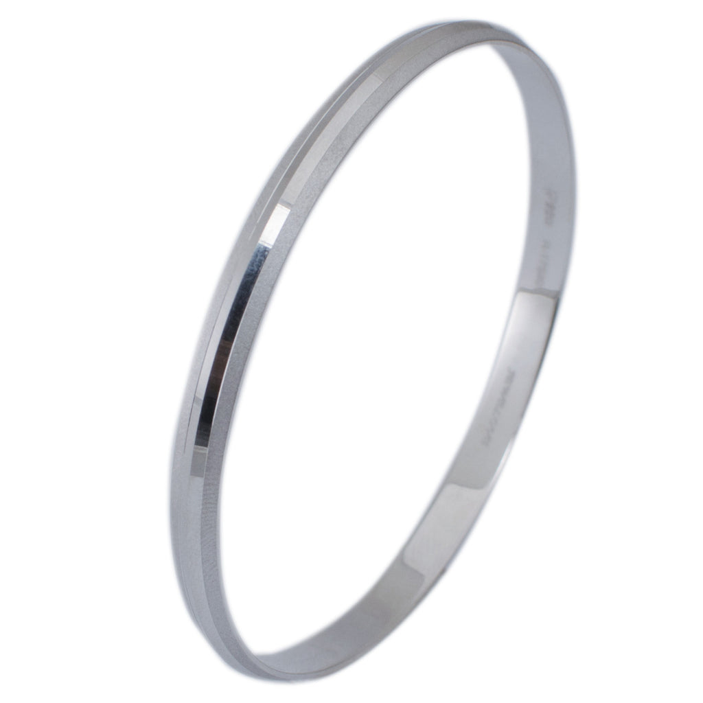Platinum Bangles in India - Punjabi Platinum Kada For Men With Matte Finish & Hi-Polish JL PTB 617