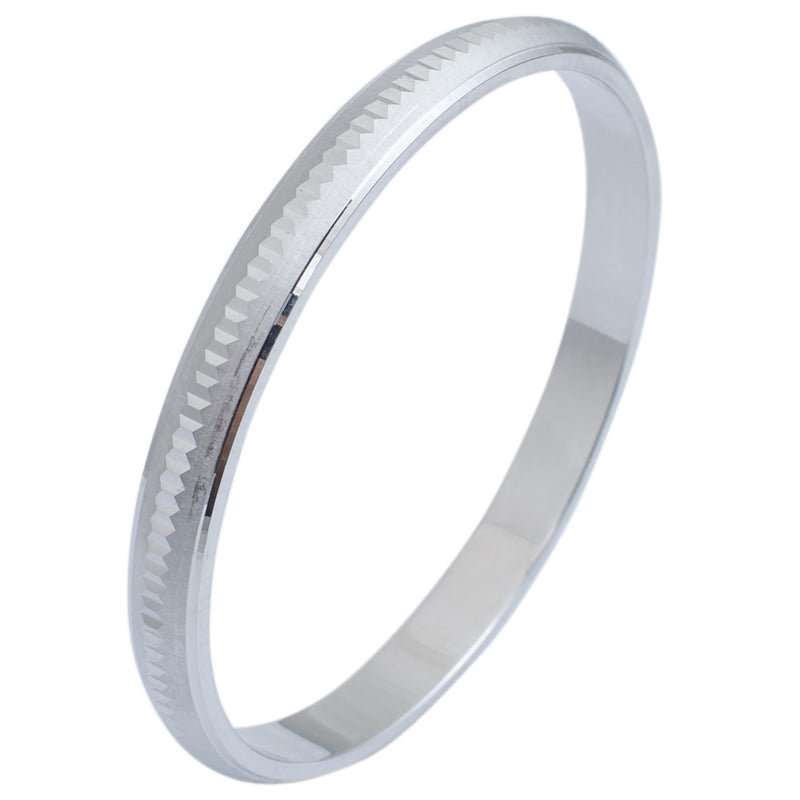 Platinum Kada in India - Unique Platinum Kada For Men With Hexagonal Texture JL PTB 623