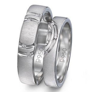 Concentric Circles Platinum Couple Rings with Diamonds JL PT 418