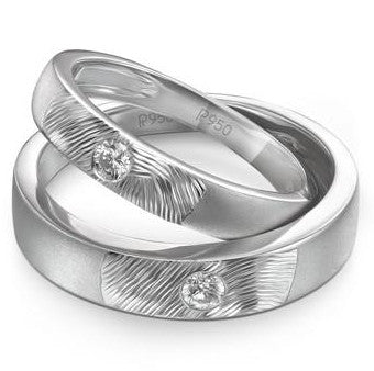 Platinum Couple Rings in India - Curve Textured Platinum Couple Bands With Single Diamonds JL PT 425