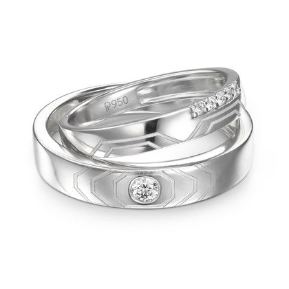 Platinum Couple Rings in India - Designers Platinum Love Bands Wth Hexagonal Grooves & Diamonds JL PT 427