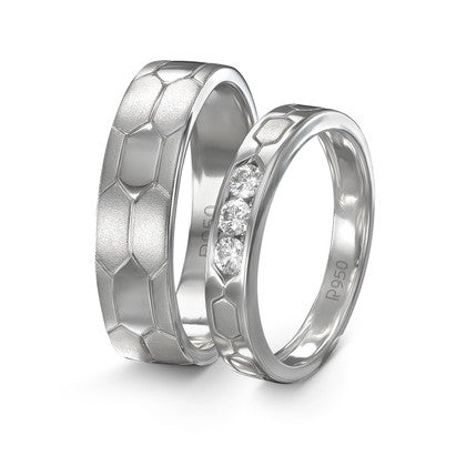Platinum Couple Rings in India - Hexagonal Textured Platinum Love Bands JL PT 422
