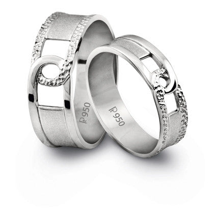Platinum Couple Rings in India - Plain Platinum Love Bands With A Groove SJ PTO 216