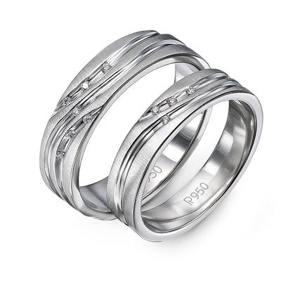 Platinum Couple Rings in India - Platinum Couple Rings With Diamonds Set In Curvilinear Grooves JL PT 428