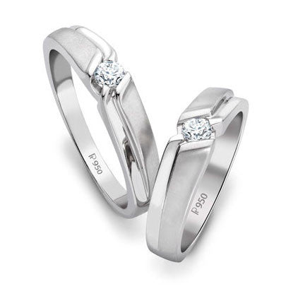 Platinum Couple Rings - Super Sale - Platinum Ring For Women Size 10 With Single Diamonds SJ PTO 158