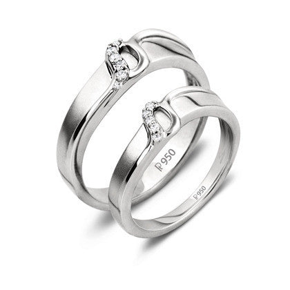 Platinum Couple Rings in India - Super Sale - Thin Platinum Love Bands With Diamonds SJ PTO 221 Ring Sizes 15, 18