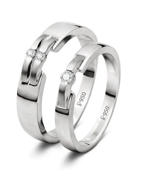 Platinum Couple Rings - Super Sale - Women's Ring Size 7 New Style Platinum Love Bands SJ PTO 202