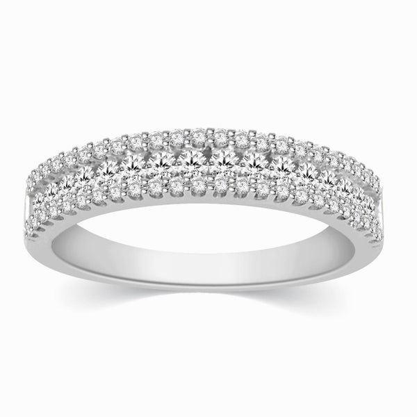Platinum Diamond Rings in India - 3 Row Half Eternity Diamond Ring In Platinum JL PT 329