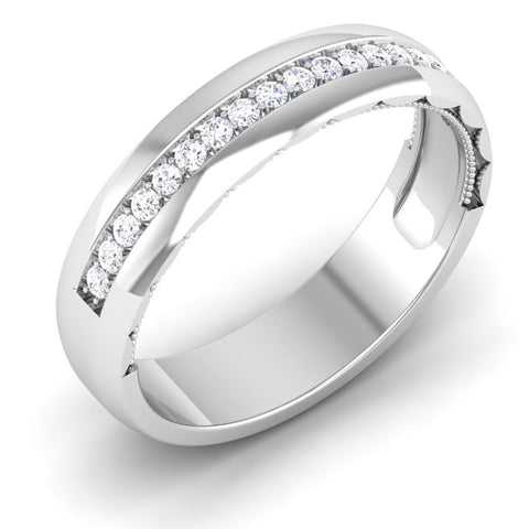 Platinum Diamond Rings in India - 4.5mm Broad Half Eternity Ring With Diamonds In Platinum JL PT 435