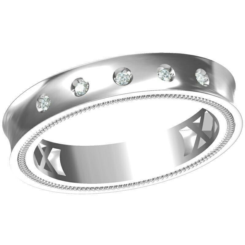 curve knife diamond wedding platinum band domed edge basket rings curved wb in gold white pave set