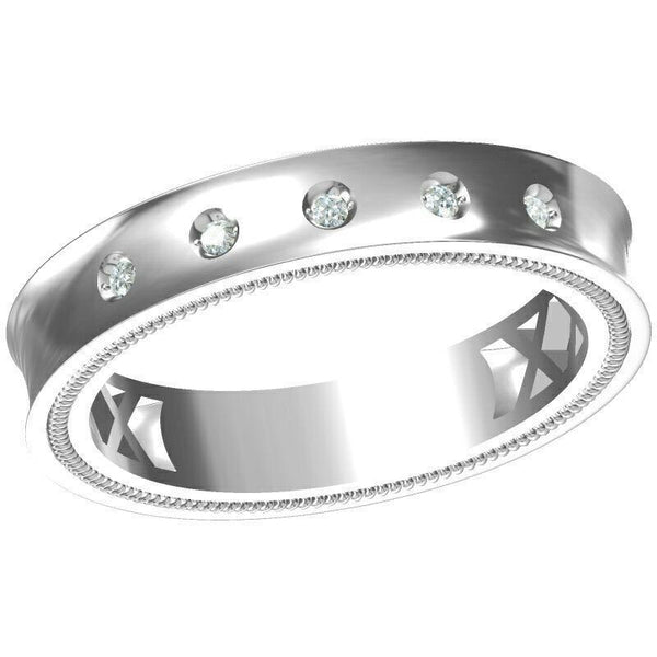 Platinum Diamond Rings in India - 5 Diamond Curved Platinum Ring For Men With Milgrain Finish JL PT 430