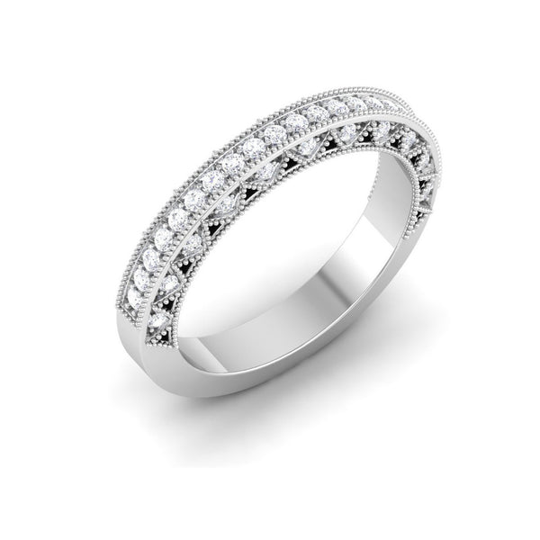 Platinum Diamond Rings in India - Exquisite Half Eternity Platinum Ring With Diamonds JL PT 443