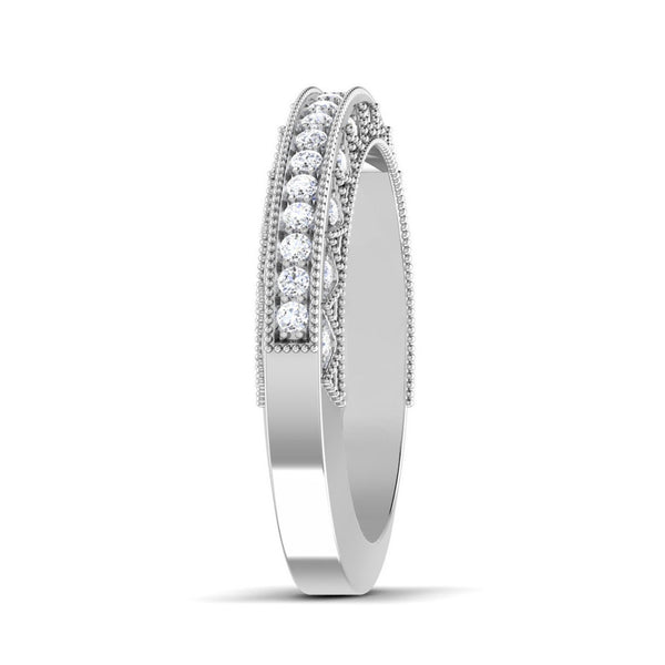 Platinum Diamond Rings in India - Exquisite Half Eternity Platinum Ring With Diamonds JL PT 443 Side View