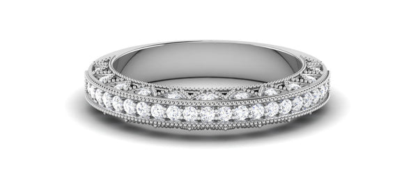 Diamond Platinum Rings in India - Exquisite Half Eternity Platinum Ring With Diamonds JL PT 443