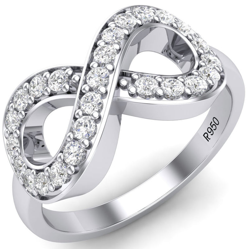 Diamond Platinum Rings in India - Infinity Of Love Platinum Diamond Ring For Women JL PT 458