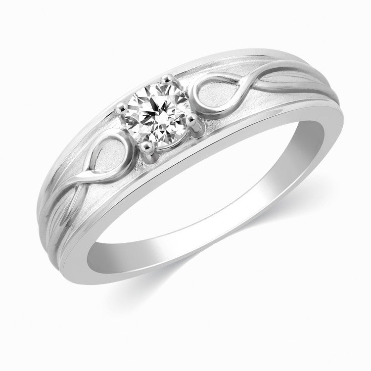 Platinum Diamond Rings for Men - Infinity Solitaire Ring For Men In Platinum JL PT 444