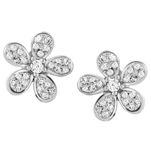 Platinum Earrings - Cute Flowery Platinum Earrings With Diamonds JL PT E 158