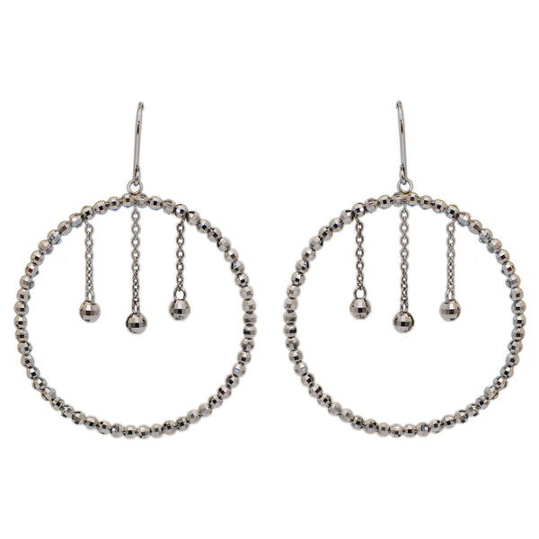 Platinum Earrings in India - Platinum Earrings With Hanging Diamond Cut Hoop For Women JL PT E 162 Made In Japan