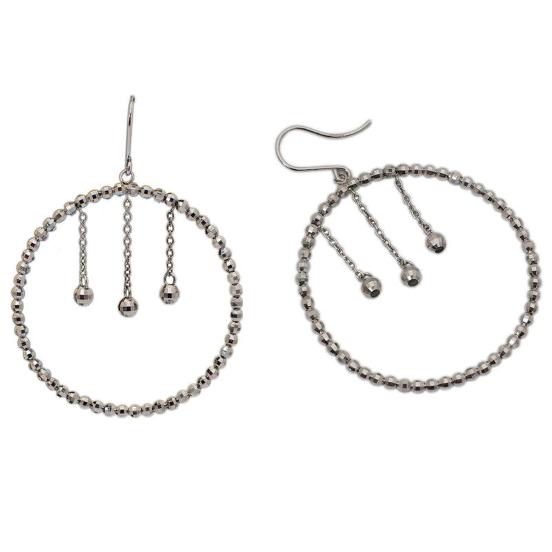 Platinum Earrings With Hanging Diamond Cut Hoop For Women JL PT E 162 Made In Japan