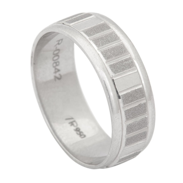Platinum Rings for Men in India - 6mm Plain Platinum Ring For Men With Rectangular Textures With Matte Finish JL PT 412
