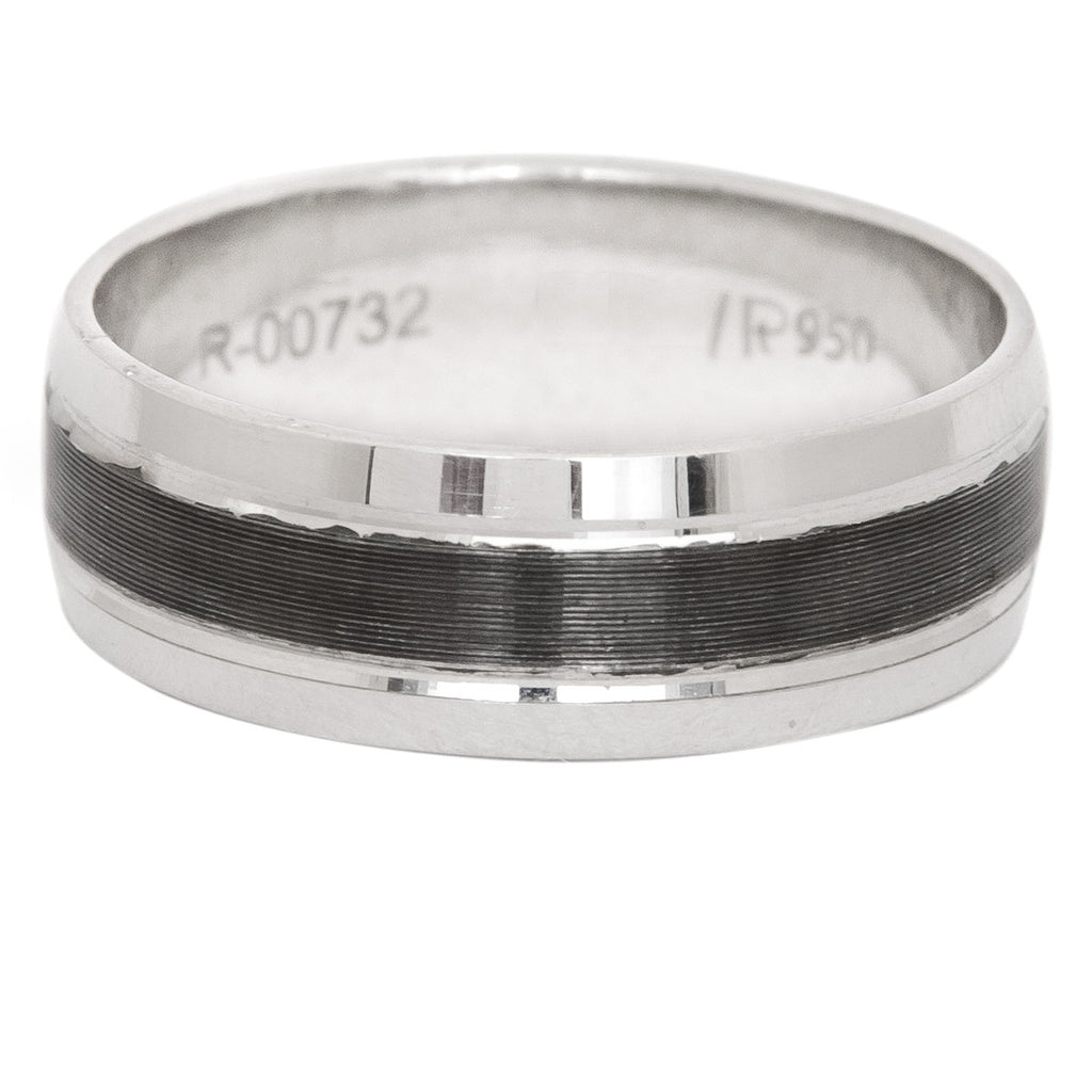 Platinum Men Rings in India - 6mm Plain Platinum Ring With Masculine Black For Men JL PT 414