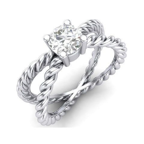 Platinum Men Rings - Designer Platinum Solitaire Ring With Rope Texture For Women JL PT 448