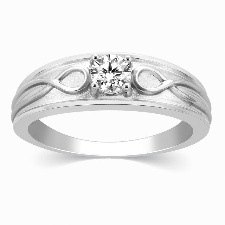Platinum Rings for Men - Infinity Solitaire Ring For Men In Platinum JL PT 444