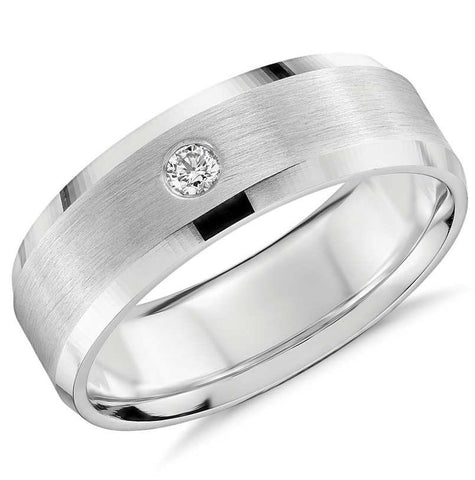 7mm Designer Single Diamond Platinum Band for Men JL PT 475