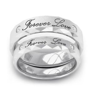 Platinum Couple Rings - Customized Engraved Platinum Love Bands With 2 Diamonds SJ PTO 298