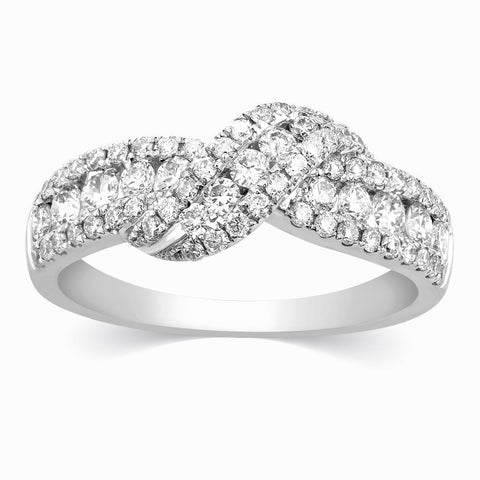Platinum Diamond Rings - Designer Diamond Knot Ring By Jewelove JL AU 112