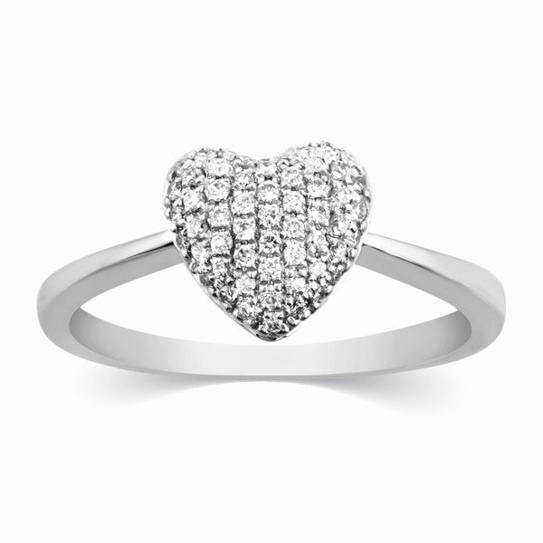 Platinum Rings in India - Heart Of Love White Gold Ring For Women JL AU 111